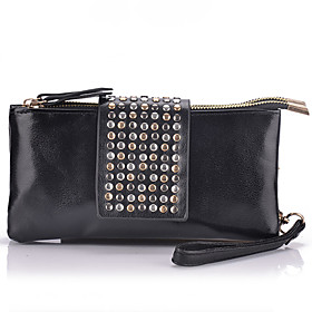 Women's Rivet Leather Clutch Bag
