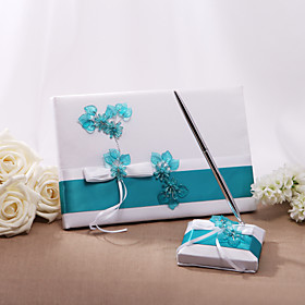 Guest Book Pen Set Satin Floral ThemeWithBow