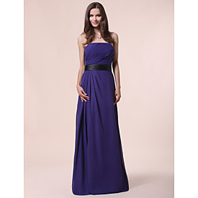 LAN TING BRIDE Floor-length Strapless Bridesmaid Dress - Elegant Sleeveless Chiffon