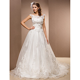 Lanting Bride A-line Petite / Plus Sizes Wedding Dress - Classic Timeless Vintage Inspired Chapel Train Scoop Lace / Organza with plus size,  plus size fashion plus size appare