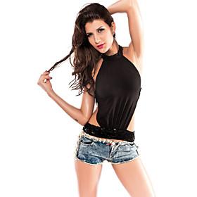 Women's Ultra Sexy Sequins Backless Top(Length:48cm  Bust:86-102cm  Waist:58-80cm)