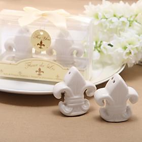 "Fleur-de-Lis"" Ceramic Salt Pepper Shakers (Set of 2)"
