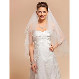 Wedding Veils Two-tier Fingertip Veil With Applique Edge