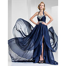 TS Couture Formal Evening Military Ball Dress - Vintage Inspired A-line Princess Halter Sweetheart Court Train Satin Chiffon withBeading plus size,  plus size fashion plus size appare