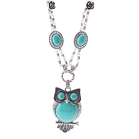 The Owl Turquoise Silver Necklace