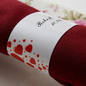 Personalized Paper Napkin Ring - Red Hearts (Set of 50)