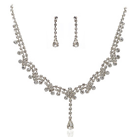High Quality Czech Rhinestones With Alloy Plated Wedding Jewelry Set, Including Necklace And Earrings