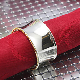 Set of 4 Pieces Round Solid Alloy Silvery Napkin Rings