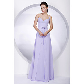 A-Line Spaghetti Straps Floor Length Chiffon Bridesmaid Dress with Bow(s) Sash / Ribbon by LAN TING BRIDE