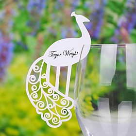 Pretty Peacock Place Card For Wine galss (Sett med 12)