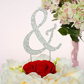 Cake Topper Non-personalized Chrome Wedding / Anniversary / Quinceañera Sweet Sixteen / Birthday Rhinestone Classic Theme PVC Bag
