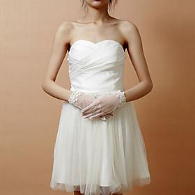 Wrist Length Fingertips Glove Lace Net Bridal Gloves Party/ Evening Gloves Spring Summer Fall Winter Rhinestone