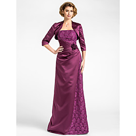 SheathColumn Strapless Floor-length Lace And Satin Mother of the Bride Dress With A Wrap $89.99 AT vintagedancer.com