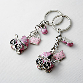 Baby Shower Party Favors Gifts-4Piece/Set Keychain Favors Chrome Personalized Pink