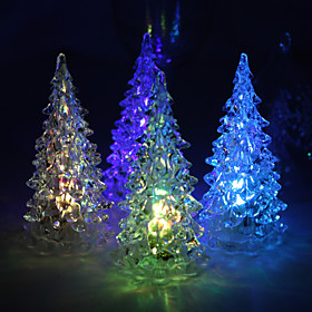 Acrylic Vinyl Christmas Tree LED Lamp - Set of 4 (Color Changing, Built-in Botton Cell)