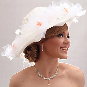 Beautiful Organza/Satin With Rhinestone /Imitation Pearls Wedding Bride Hat