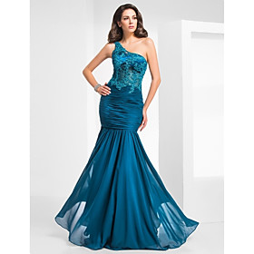 TS Couture Formal Evening / Military Ball Dress - Vintage Inspired / Elegant Plus Size / Petite Trumpet / Mermaid One Shoulder Floor-length Chiffon plus size,  plus size fashion plus size appare