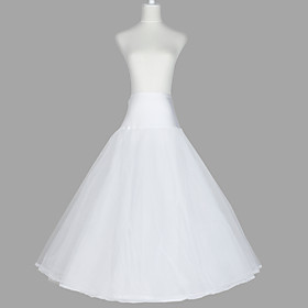Slips A-Line Slip Floor-length 3 Tulle Netting Taffeta Organza White As Picture