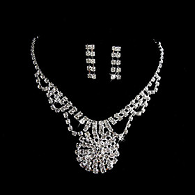 Marvelous Alloy med rhinestones Wedding Bridal Jewelry Set inkludert halskjede og ?redobber