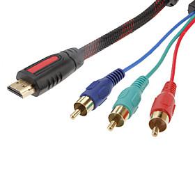 HDMI a cable 3 RCA RGB Audio Video AV por componentes (1.5 m, Negro y Rojo)