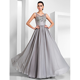 TS Couture Formal Evening Military Ball Dress - Vintage Inspired Elegant A-line Princess V-neck Floor-length Chiffon Tulle withAppliques plus size,  plus size fashion plus size appare