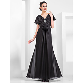 Sheath / Column V-neck Floor Length Chiffon Sequined Formal Evening Military Ball Dress with Beading Draping by TS Couture plus size,  plus size fashion plus size appare