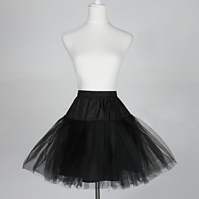 Slips A-Line Slip Ball Gown Slip Short-Length 5 Tulle Netting Taffeta Black As Picture