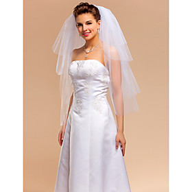 Elegant Four-tier Elbow Wedding Veils With Cut Edge