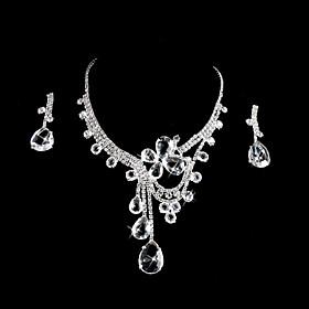 Elegant rhinestones legering Wedding Bridal Jewelry Set inkludert halskjede og ?redobber