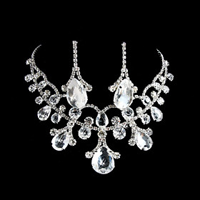Marvelous rhinestones legering Wedding Bridal Jewelry Set inkludert halskjede og ?redobber