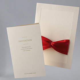 Vintage Wedding Invitation With Ribbon - Set of 50 (More Colors)