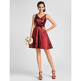 LAN TING BRIDE Knee-length V-neck Bridesmaid Dress - Floral Sleeveless Taffeta plus size,  plus size fashion plus size appare