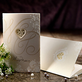 Vintage Style Tri-fold Wedding Invitation With Heart Cutout (Set of 50)