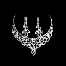 Elegant Alloy med rhinestones Wedding Bridal Jewelry Set inkludert halskjede og ?redobber