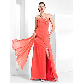TS Couture Prom Formal Evening Military Ball Dress - Vintage Inspired Elegant Sheath / Column One Shoulder Floor-length Chiffon with plus size,  plus size fashion plus size appare