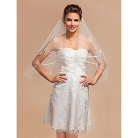 Elegant One-tier Elbow Wedding Veils With Cut Edge