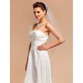 One-tier Elbow Wedding Veils With Pencil Edge