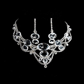 Alloy med Shining Rhinestones Ladies 'Wedding Bridal Jewelry Set inkludert halskjede og ?redobber