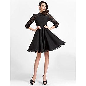 TS Couture Cocktail Party Company Party Family Gathering Dress - Vintage Inspired Little Black Dress A-line Princess High Neck Knee-length plus size,  plus size fashion plus size appare