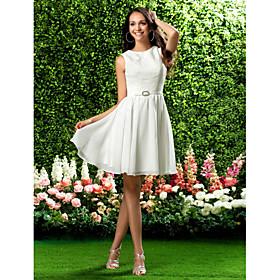 LAN TING BRIDE Knee-length Jewel Bridesmaid Dress - Short Sleeveless Chiffon Lace