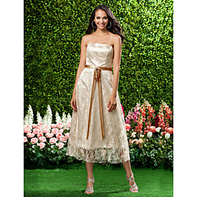 A-Line Princess Strapless Tea Length Lace Bridesmaid Dress with Bow(s) Lace Sash / Ribbon by LAN TING BRIDE plus size,  plus size fashion plus size appare
