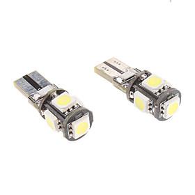 T10 1W 5x5050SMD White Light LED Bulb for Car Instrument/Side Marker Lamp CANBUS (12V- 1-Pair)