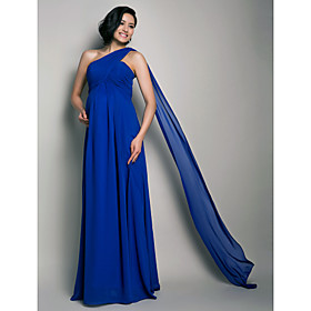 Sheath / Column One Shoulder Floor Length Watteau Train Chiffon Formal Evening Dress with Draping Criss Cross by TS Couture