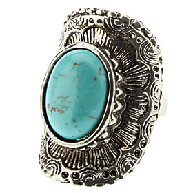 Geometric Arc Of Silver Turquoise Ring