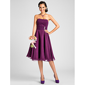 A-Line Princess Strapless Knee Length Chiffon Bridesmaid Dress with Crystal Detailing Draping Ruching by LAN TING BRIDE