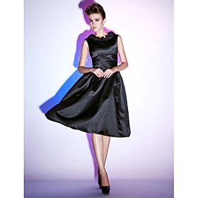 TS Couture Cocktail Party / Holiday Dress - Little Black Dress Plus Size / Petite A-line / Princess Scoop Knee-length Satin with Ruffles / Ruching plus size,  plus size fashion plus size appare
