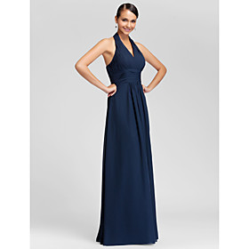 Sheath / Column Halter V-neck Floor Length Chiffon Bridesmaid Dress with Draping Criss Cross Ruching by LAN TING BRIDE plus size,  plus size fashion plus size appare