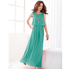 Women's Chiffon Pleated Maxi Dress