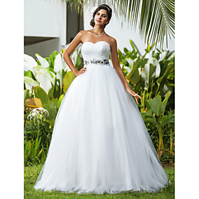 Ball Gown Sweetheart Floor Length Tulle Wedding Dress with Beading Criss-Cross by LAN TING BRIDE plus size,  plus size fashion plus size appare