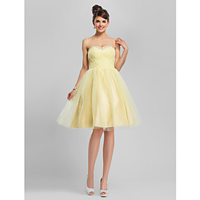A-Line Ball Gown Strapless Sweetheart Knee Length Tulle Cocktail Party Homecoming Dress with Beading by TS Couture